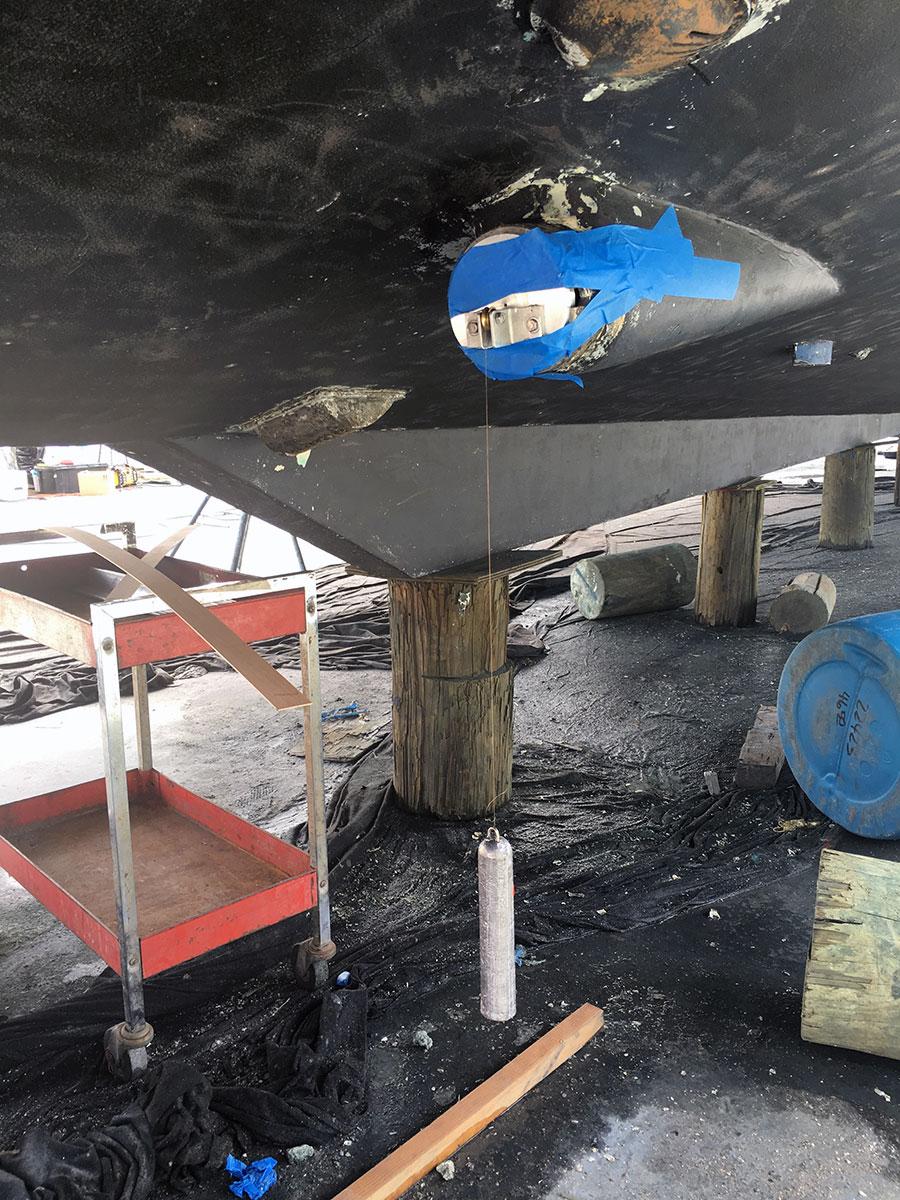 shaft targeting being performed on superyacht repair in Fort Lauderdale