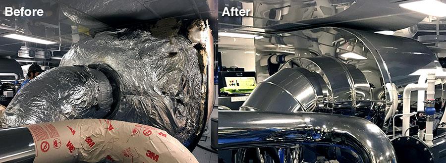 164′ Delta marine M/V Helios 3 gets new marine exhaust shrouds