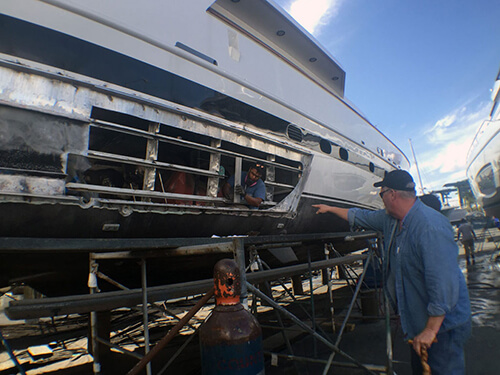 Major Yacht Hull Refit on 80' Baglietto yacht