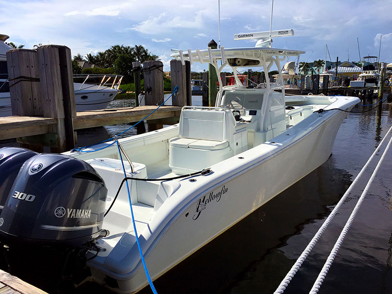 Custom boat T-Top of Yellowfin Center Console